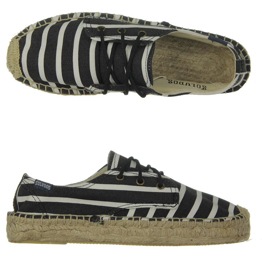 Platform Espadrille Shoes/Classic Stripe Black White