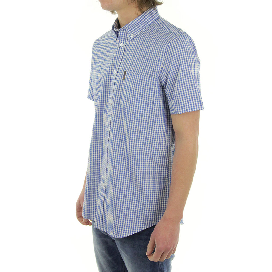 Short Sleeve House Check Collared Shirt/Snow/Blue