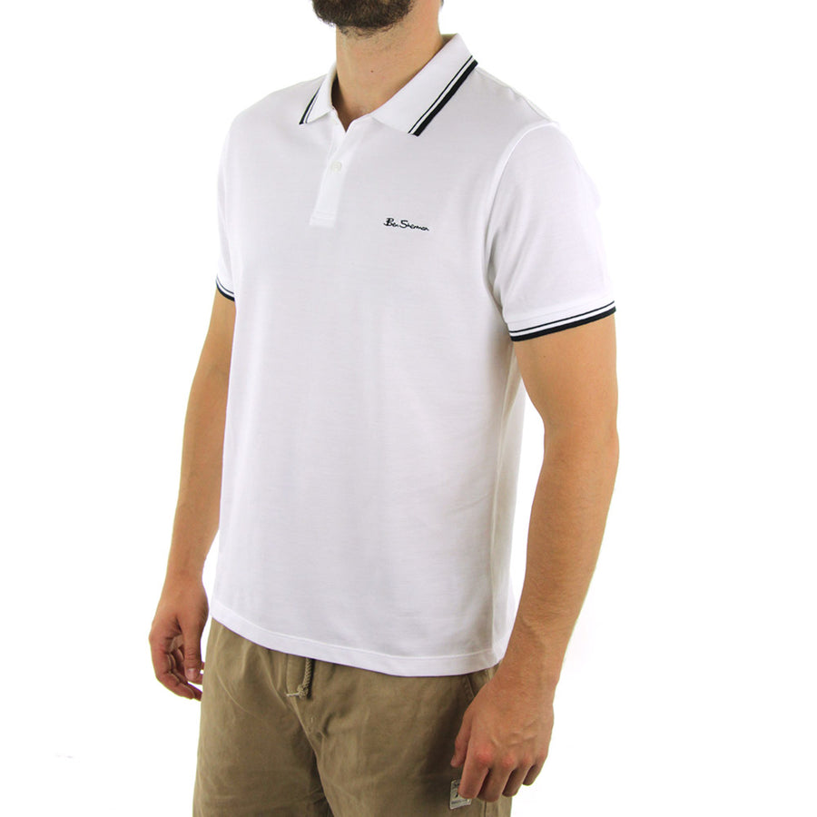 Basic Script Polo Collared Shirt/Optical White