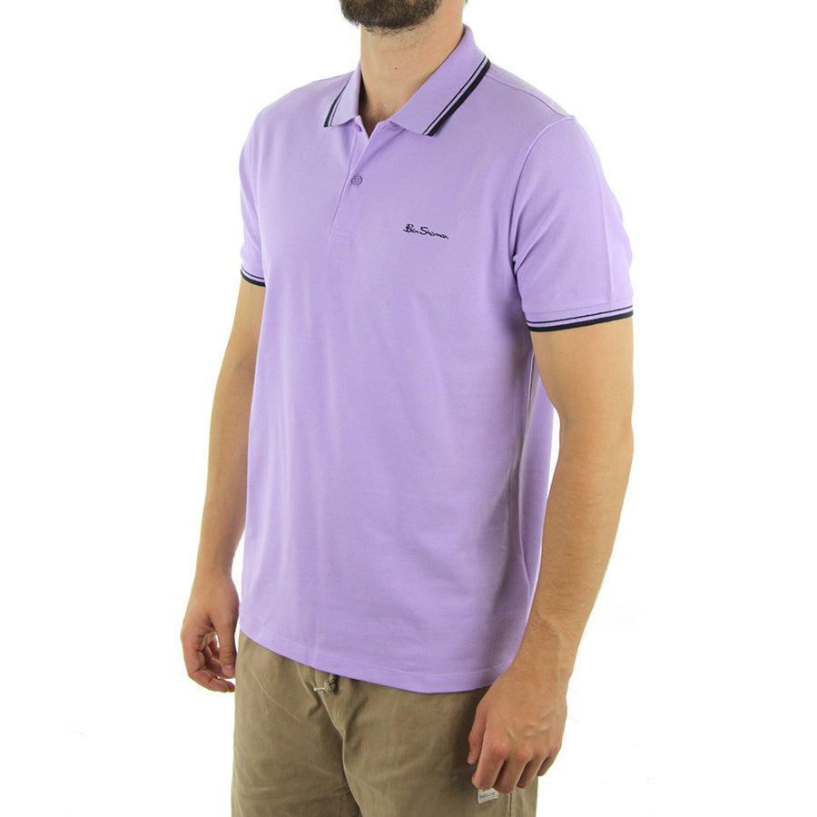 Basic Script Polo Collared Shirt/Lilac