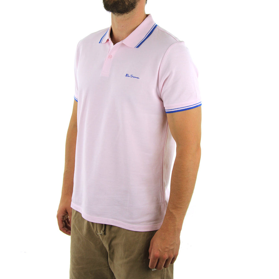 Basic Script Polo Collared Shirt/Chalk Pink