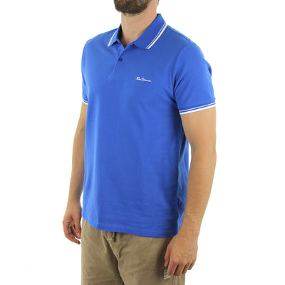 Basic Script Polo Collared Shirt/Victoria Blue