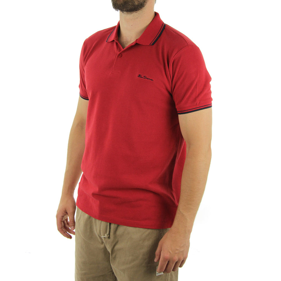 Basic Script Polo Collared Shirt/Dawn Red