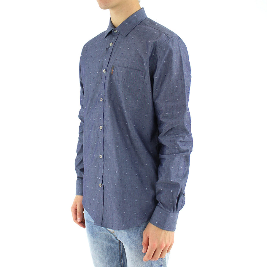 L/S Chambray Geo Soho Collared Shirt