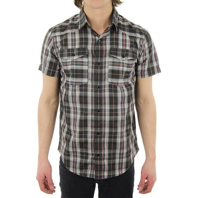 Tartan Short Sleeve Collared Shirt/Grey/Cream/Red