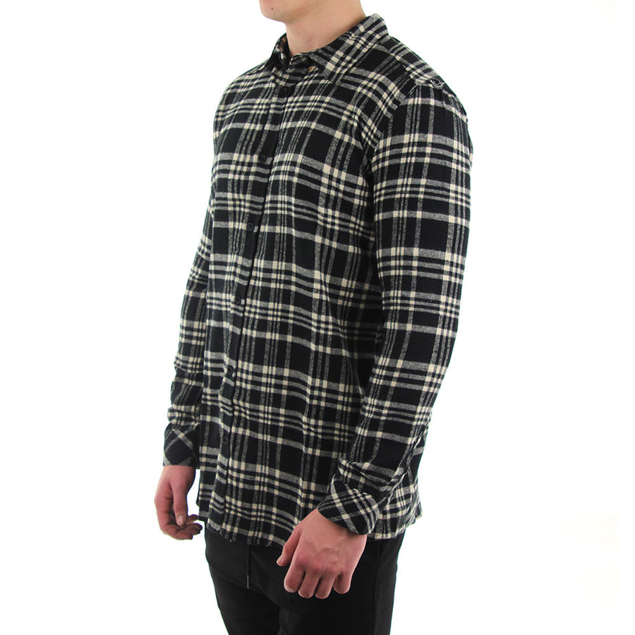 Black Beige Flannel - Black/White