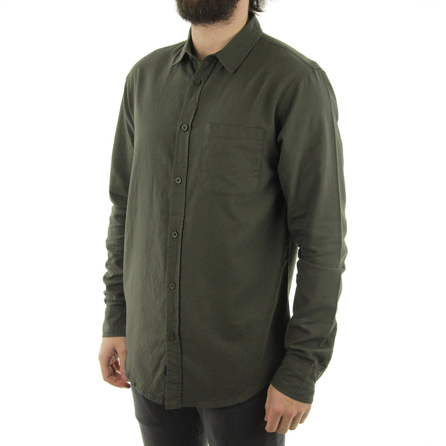Barkly Oxford LS Collared Shirt/Dark Olive