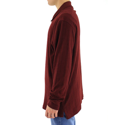 Check L/S Polo Collared Shirt/Maroon