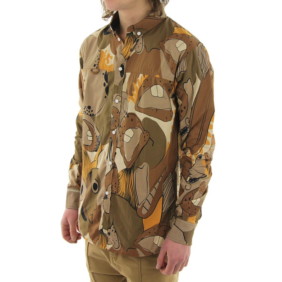 Big Mouth Frankie Long Sleeve Collared Shirt/Brown/Print
