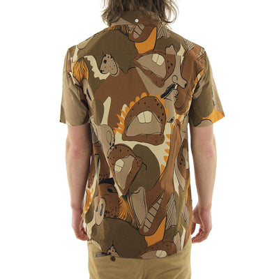 Big Mouth Frankie Short Sleeve Collared Shirt/Brown/Print