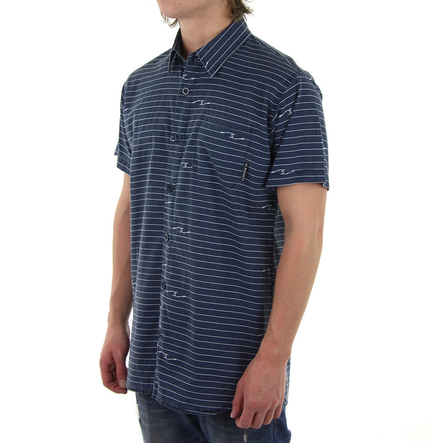 Hook Lines Collared Shirt/Navy