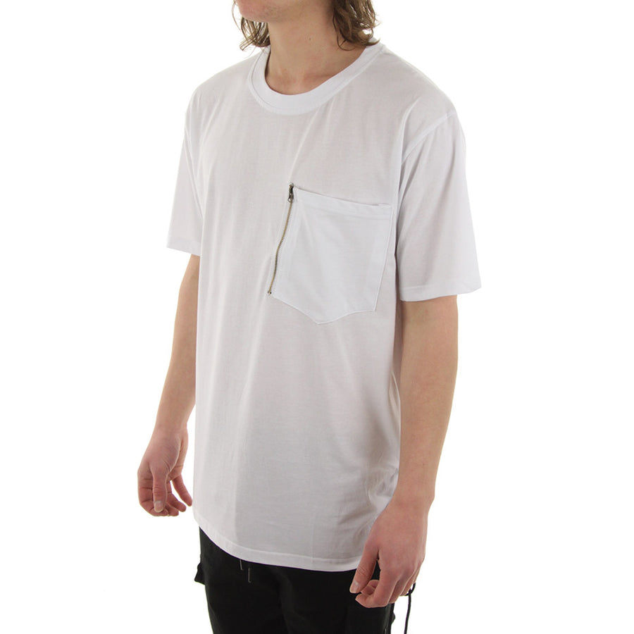 Zip Pocket Tee Tee/White