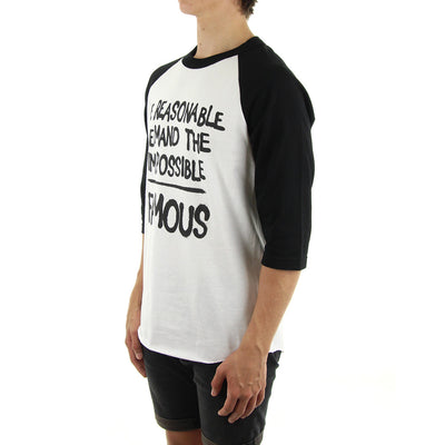 Demand The Impossible Raglan Tee/White/Black