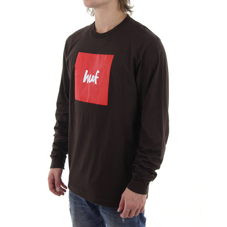 HUF X Box Logo Long Sleeve Tee/Chocolate