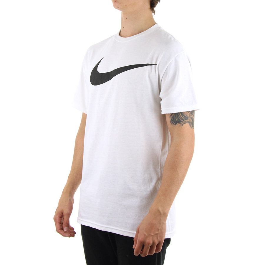 Black Swoosh Tee/White