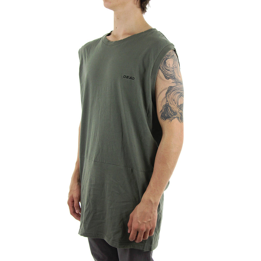 Long Split Muscle Tee/Olive