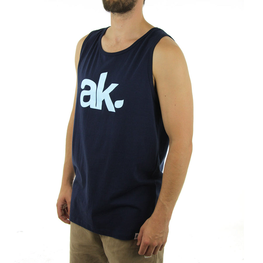AK Leaf Logo Tank/Navy Blue/Glow White