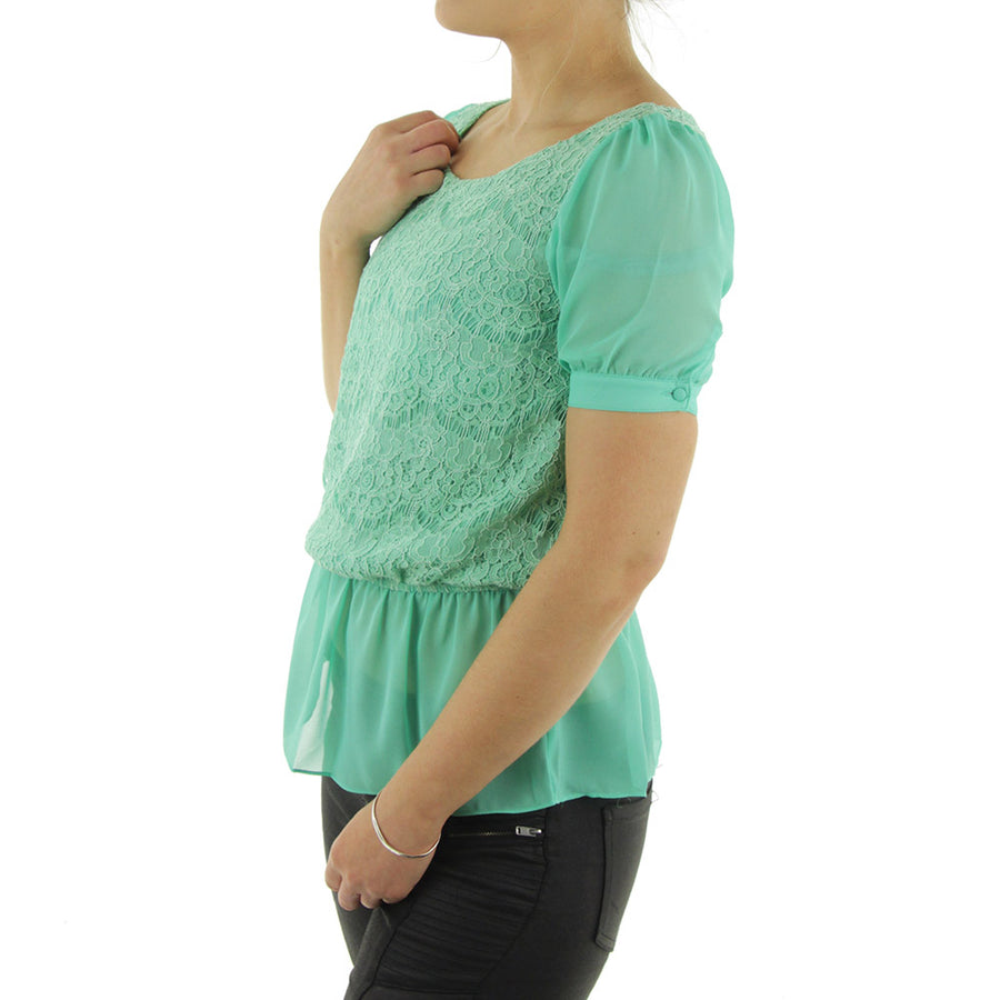 Peplum Top/Sea Green