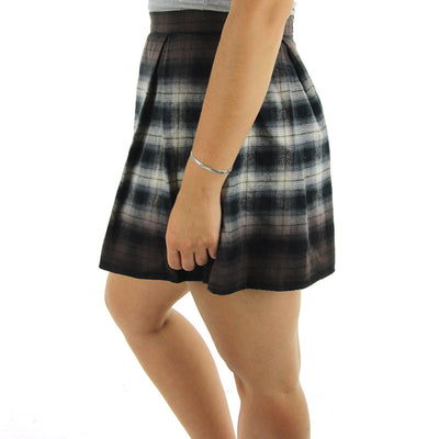 Catskill Flannel Plaid Skirt/Black/Grey/Brown Ombre
