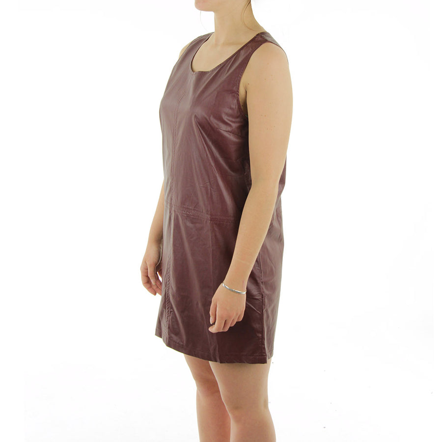 A Line Faux Leather Dress/Burgundy