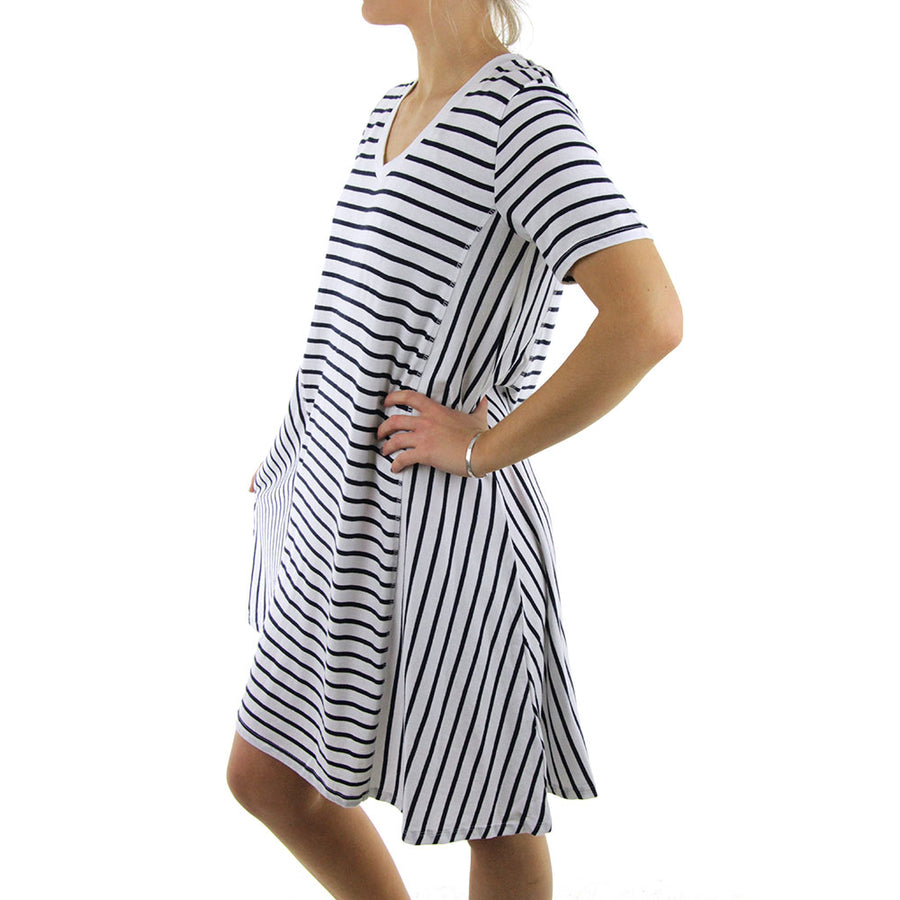 Stripe Swing Dress/Navy/White