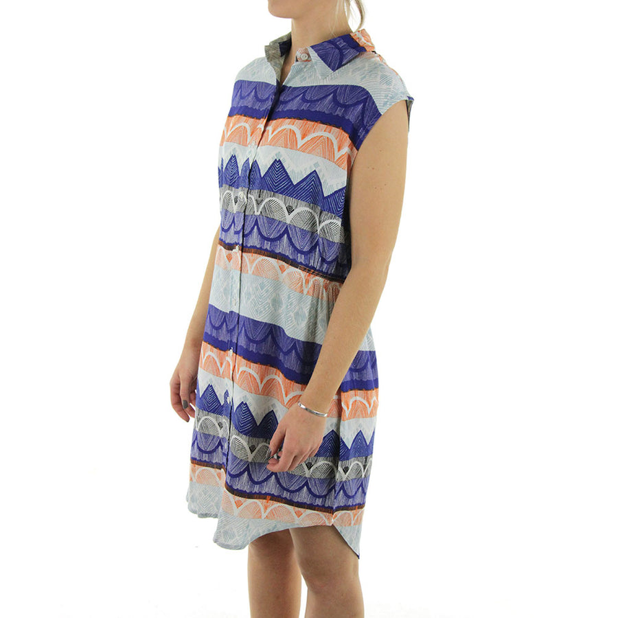 Goddess Dress/Blue/Orange