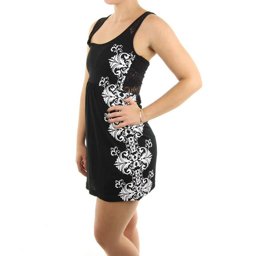 Shot Down Dress/Black/White