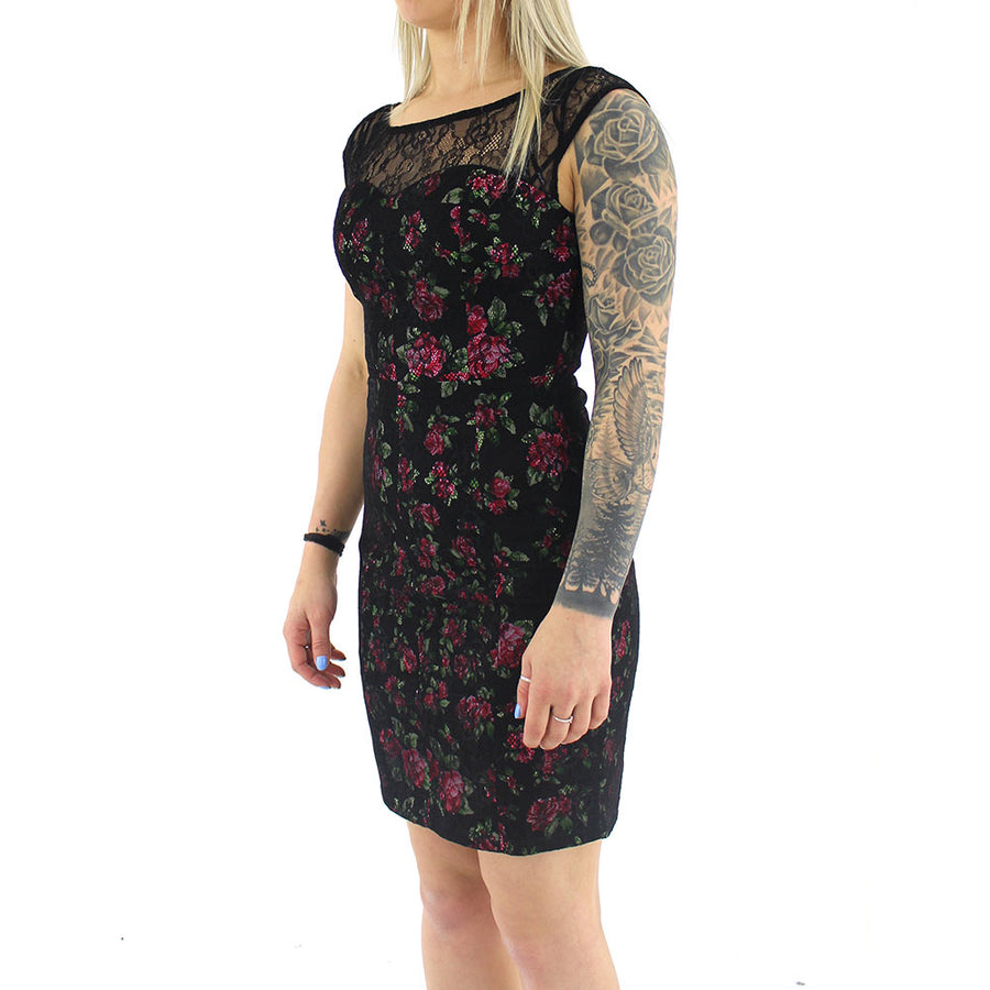 Lace Dress with Floral Underlay Dress/Black/Floral