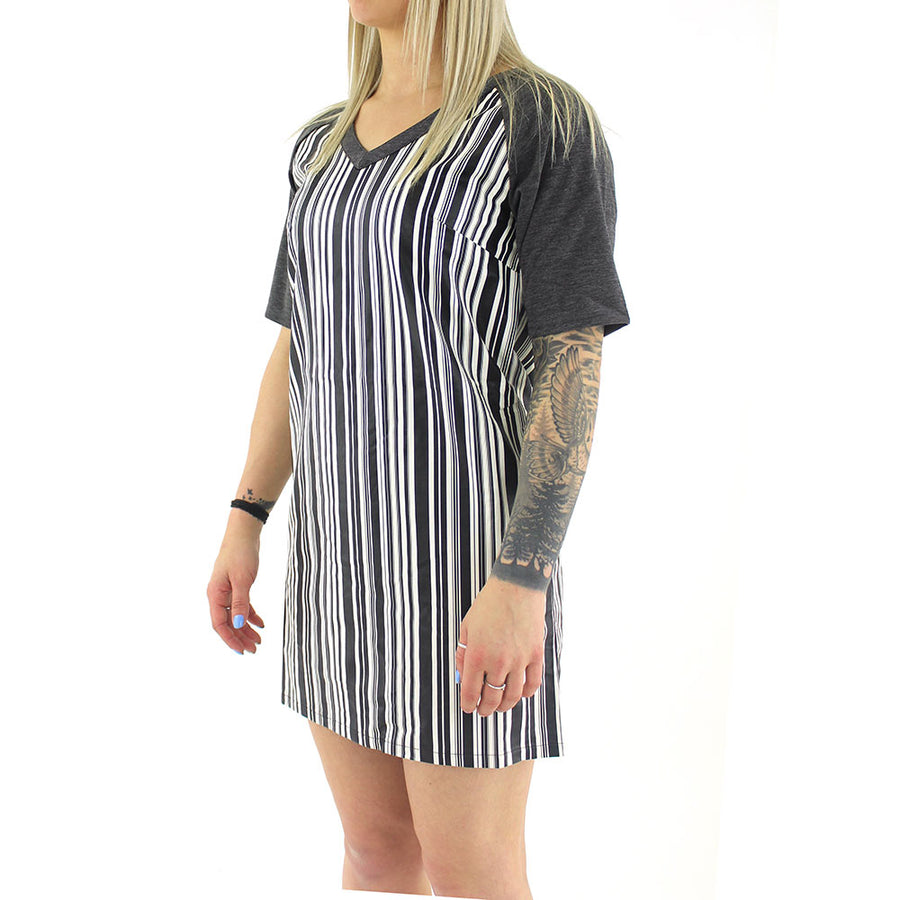 Striped V - Neck Dress/Charcoal/Black
