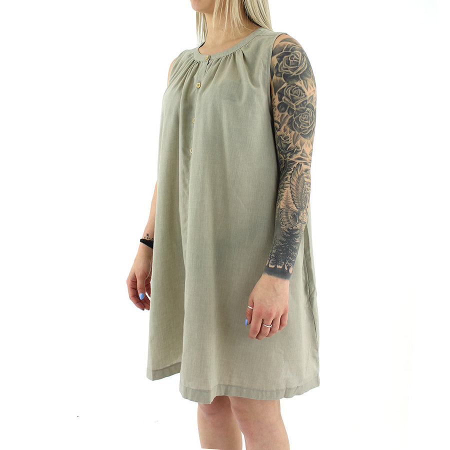 Button Up Babydoll Dress/Beige