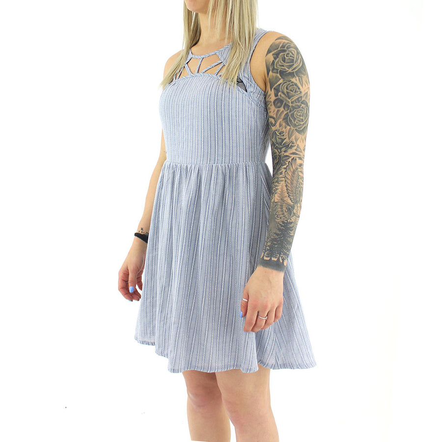 Pinstriped Dress/Baby Blue/White