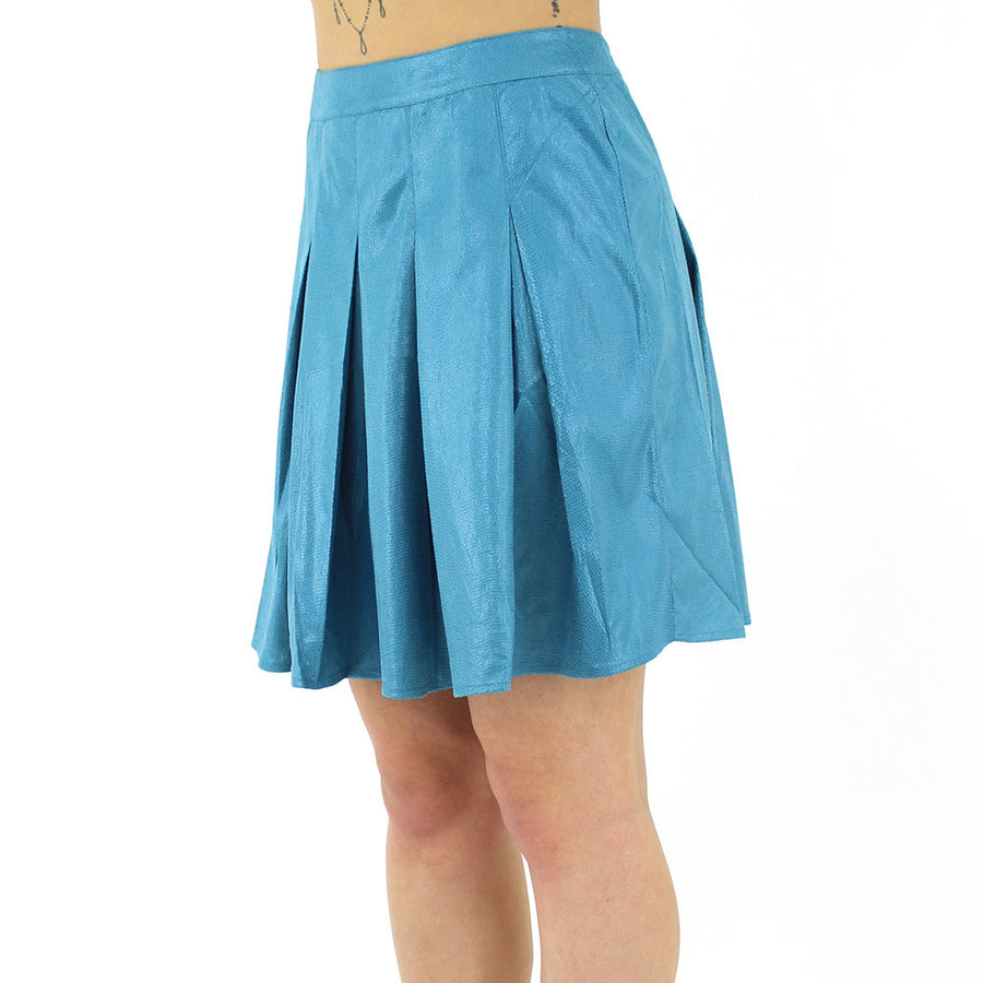 Pleated Zip Skirt/Turquoise