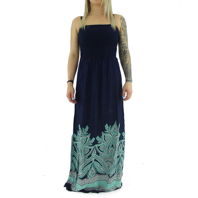 Maxi Dress/Navy/Green/White