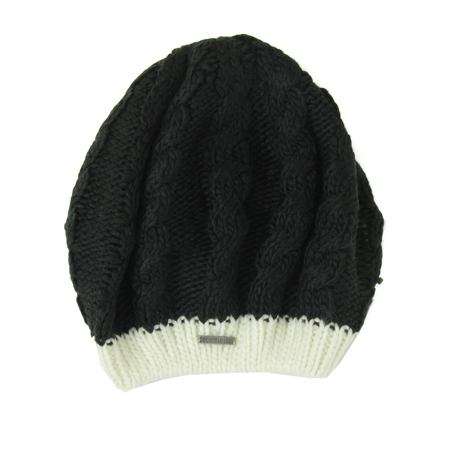 Knitted Beret Women's Beanie/Black/Off White