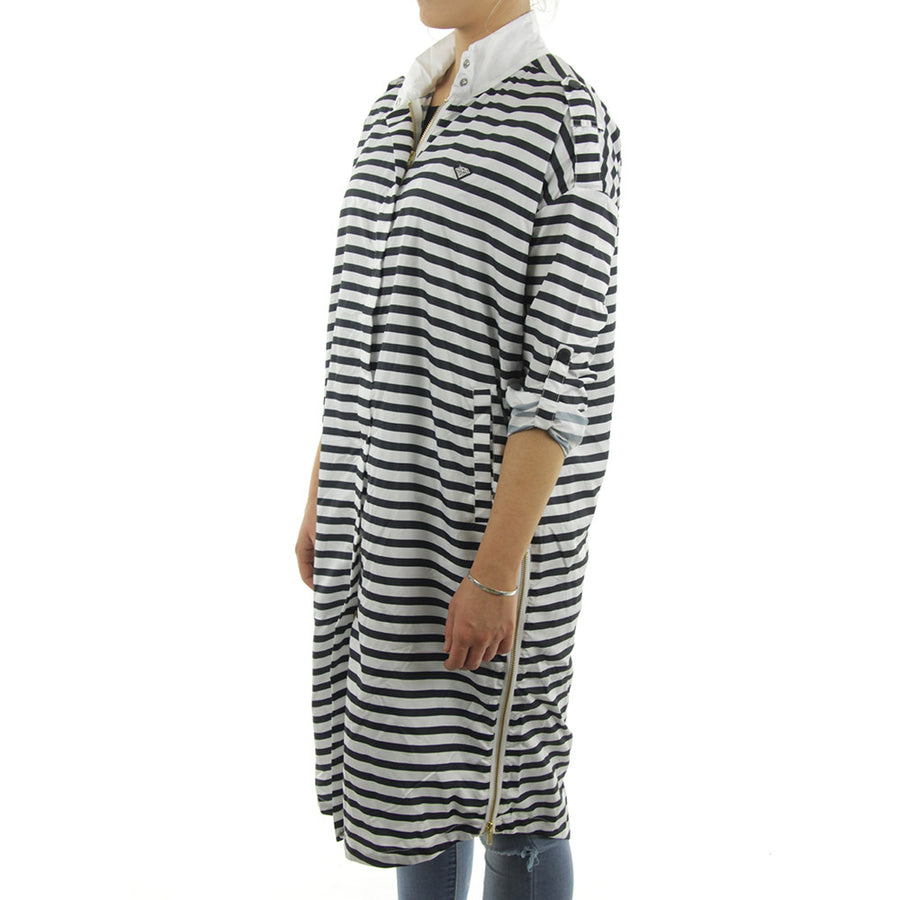 Radiant Trench Coat Women's Jacket/White/Black Stripe