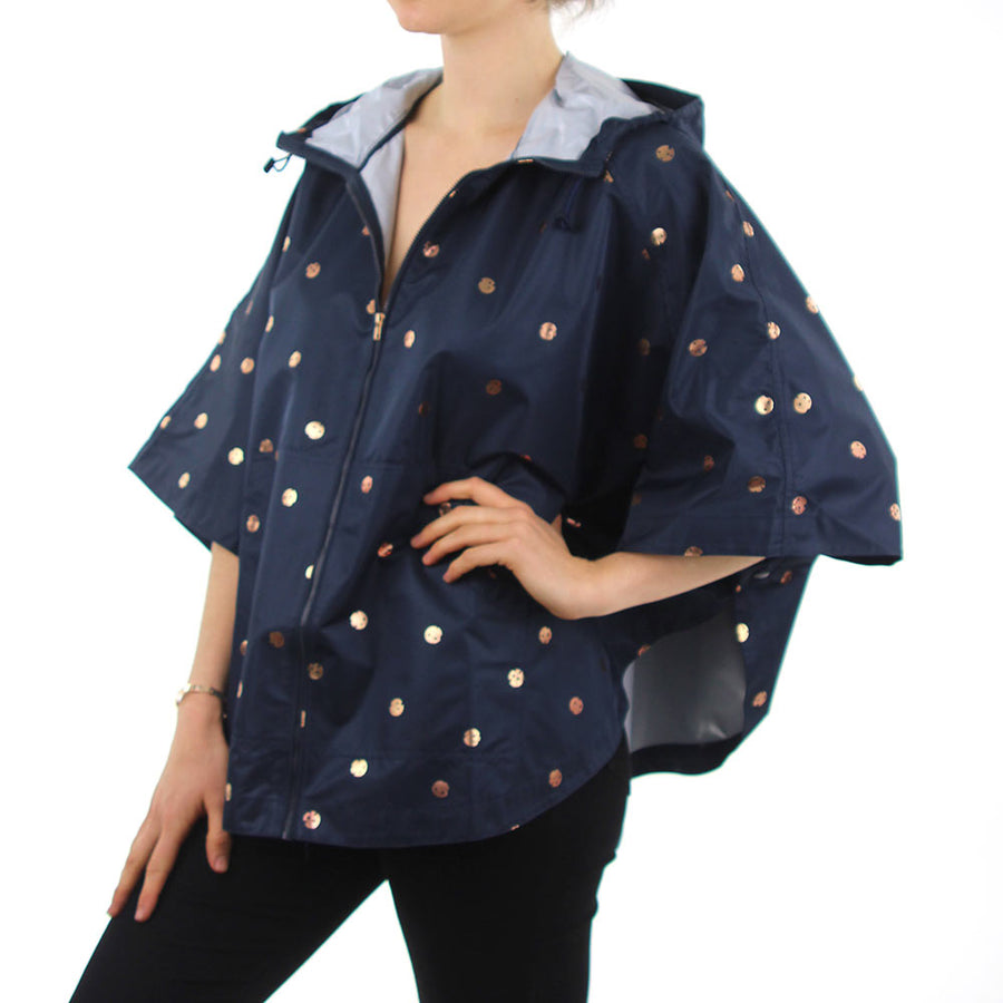 Sun Shower Poncho - Navy/Rose Gold