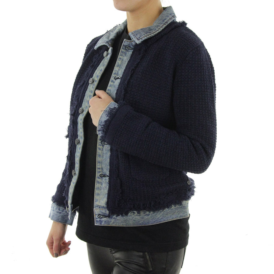 Spliced Denim knit Women's Jacket/Indigo/Blue