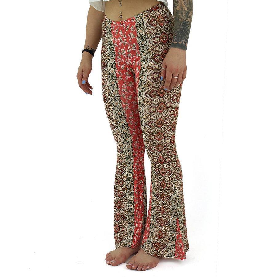 2 Pattern Flare Leg Women's Leggings/Brown/Orange