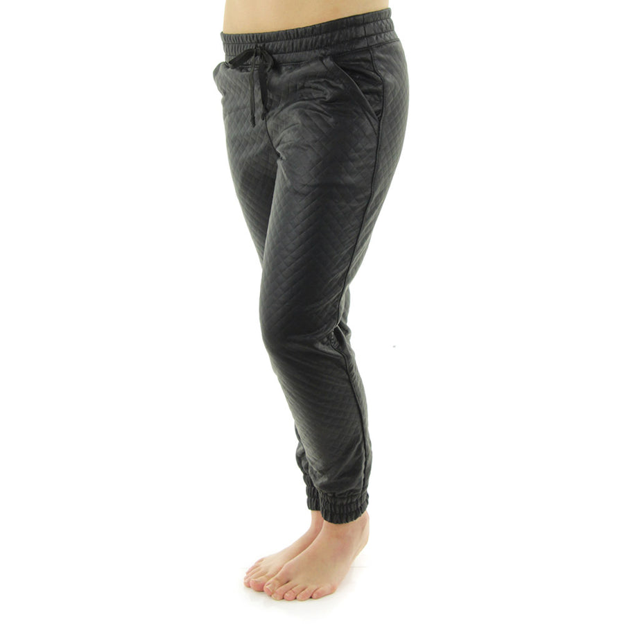 Quilted Faux Leather Women's Trackies/Black