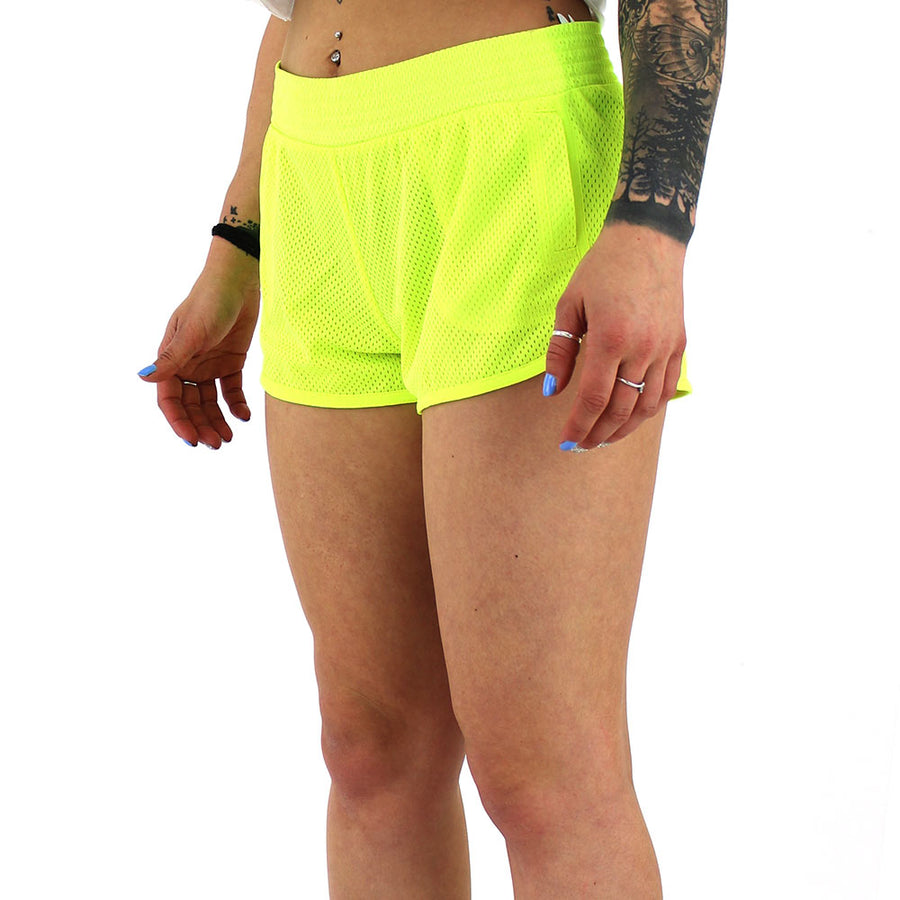 Mesh Dolphin Women's Shorts/Neon Yellow
