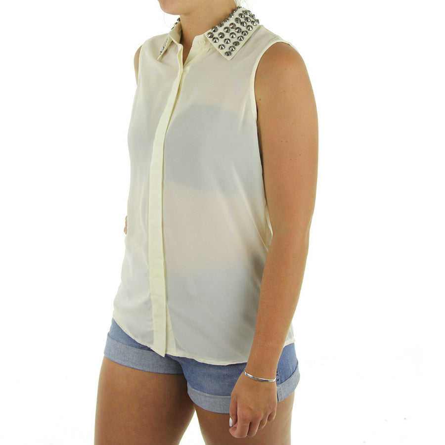 Rita Stud Women's Collared Shirt/Cream