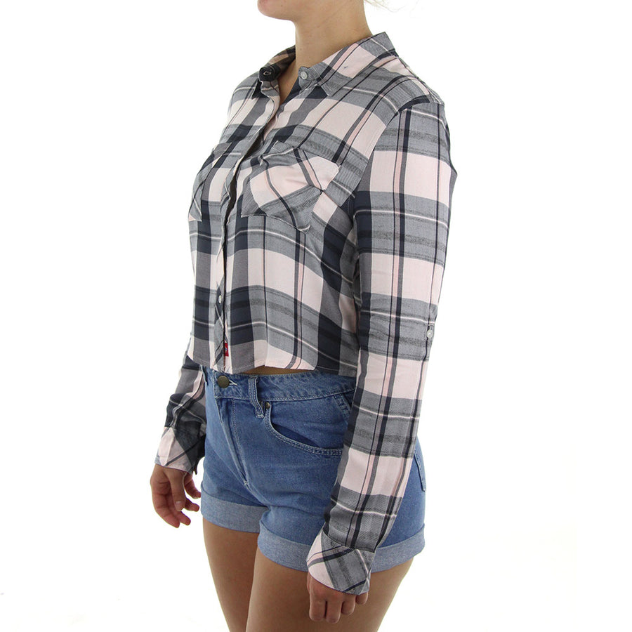 Plaid Flannel Crop Women's Top/Pink/Black