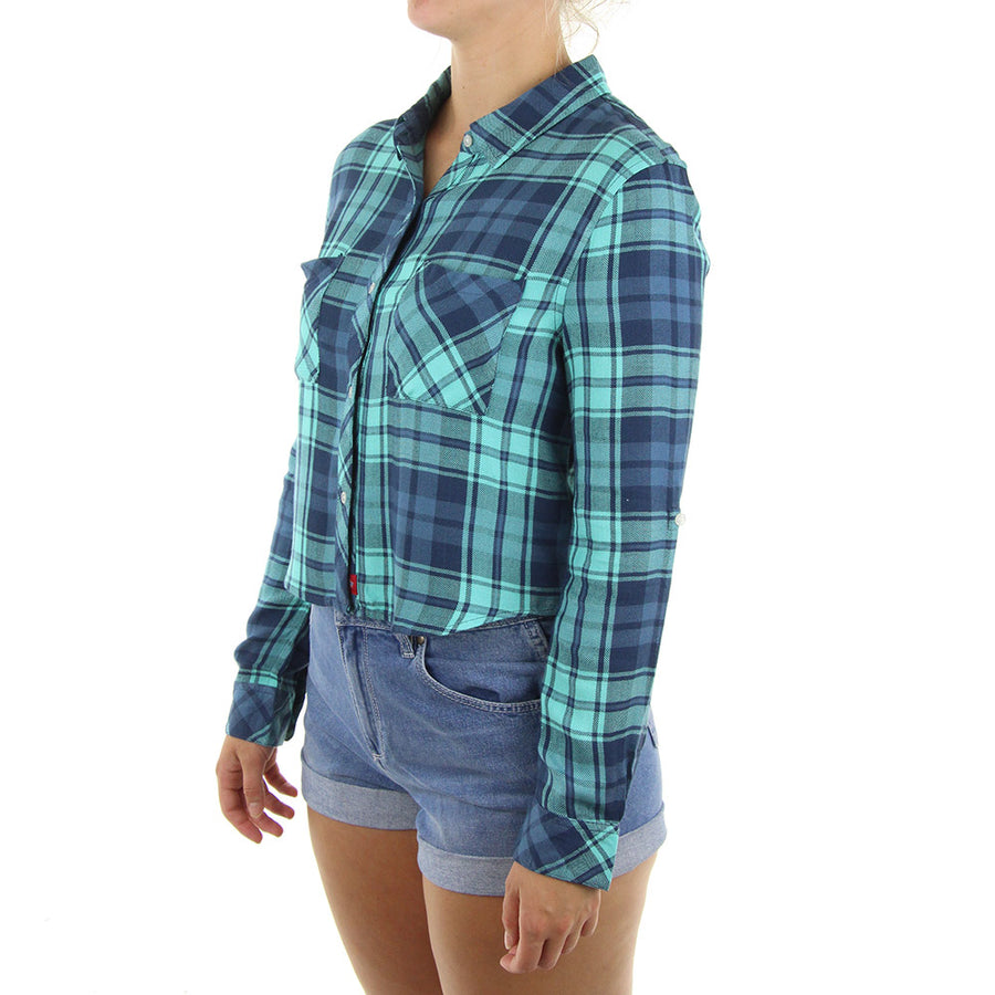 Plaid Flannel Crop Women's Top/Blue/Green