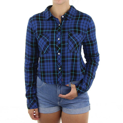 Plaid Flannel Crop Women's Top/Blue
