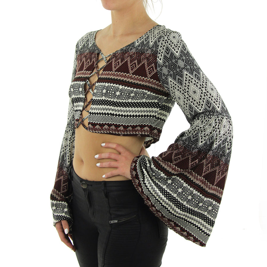 Cropped Aztec Bell Sleeved Women's Top/Black Mix