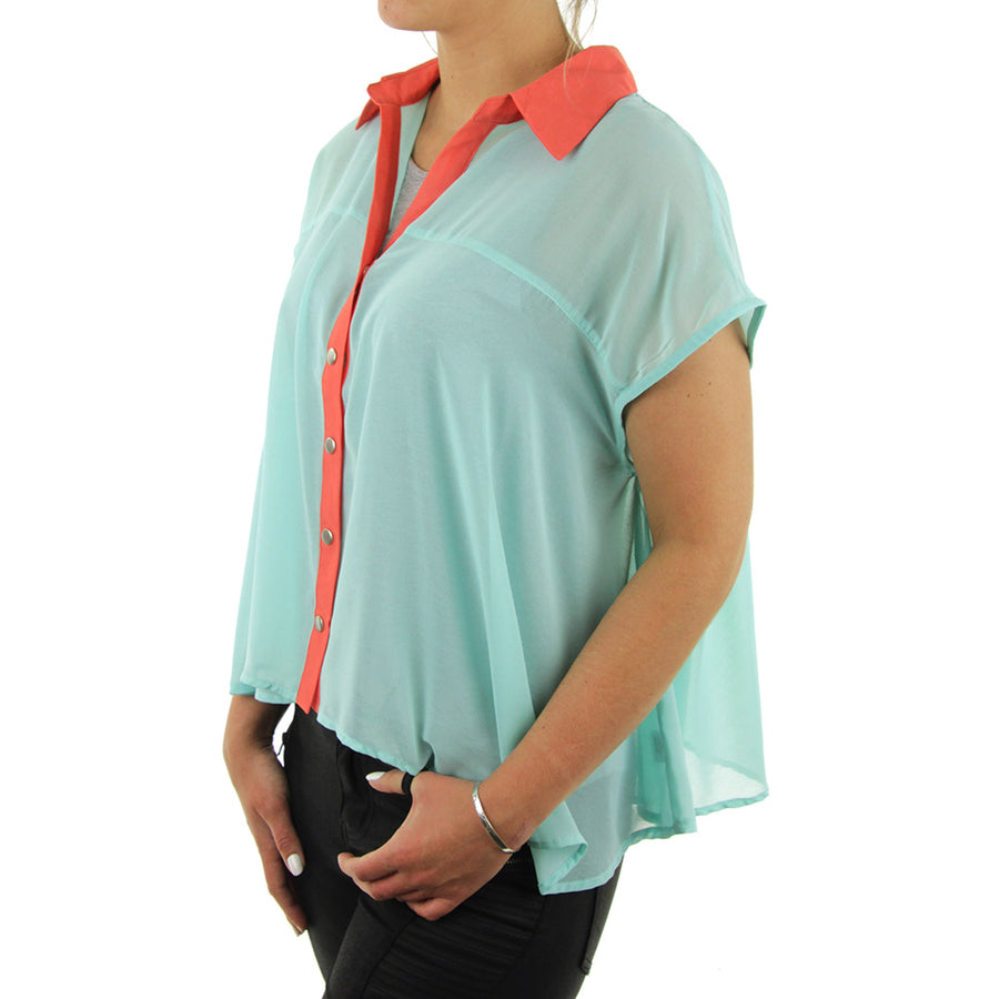 Sleeveless Blouse Women's Top/Sea Blue/Coral