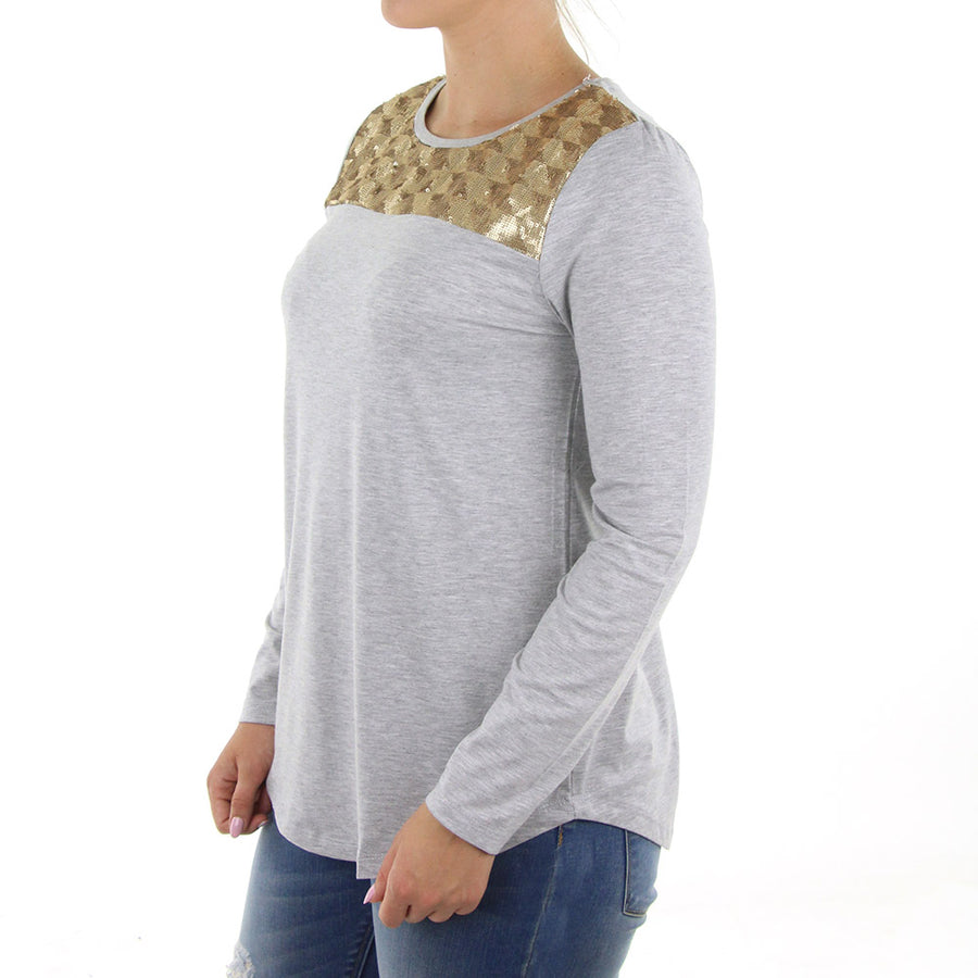 Enhance Women's Top/Grey Rose Gold