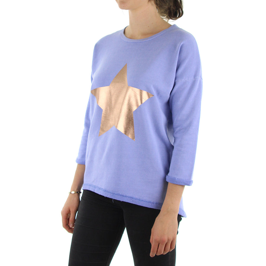 Shooting star Women's Sweatshirt/Crew/Blue Rose Gold
