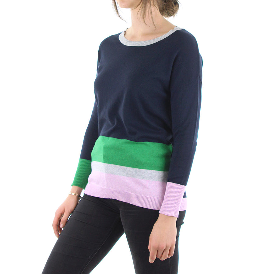 Colour Play Women's Knit/Navy/Green/Pink