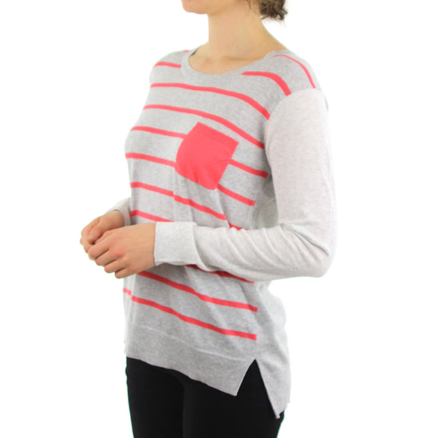 Sunset Pullover - Grey/White/Coral